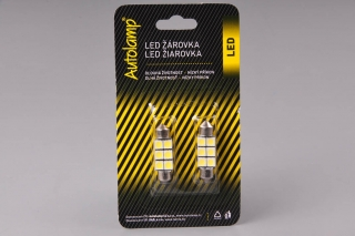 2ks žárovka LED 24V 15W SV 11x36mm čirá 6xLED 5050