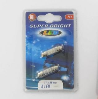Žárovka 24 V 11x38 mm LED 6 diod, 2 ks